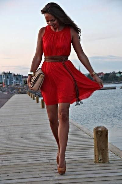 Id wear this red dress. It is the perfect design and would really flatter my curvy figure! find more women fashion on www.misspool.com