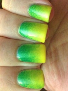Oregon Ducks/ Yellow and Green Gradient Nails