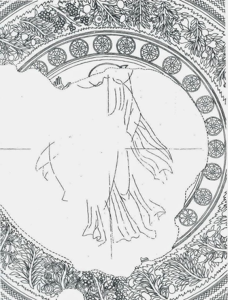 Rotonda di San Giorgio, Salonicco. Ricostruzione del mosaico della cupola (della metà del V secolo). Al centro della gloria - quasi del tutto perduta ma ricostruibile sulla base del disegno a carboncino ancora visibile sui mattoni - era raffigurato il Cristo in posizione eretta ed in cammino come incedesse verso l'abside portando in spalla una croce astile.