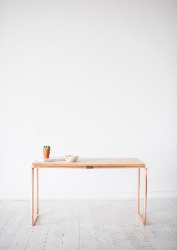 Wunderschner Schlichter Schreibtisch Aus Kupfer Und Birke An Dem Kommen Die Kreativen Ideen Wohlmglich Am