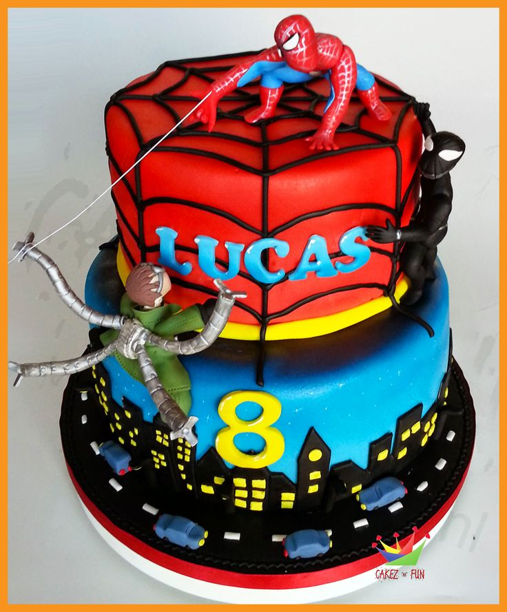 spiderman birthday cake protects his cake from octoman and black 7615