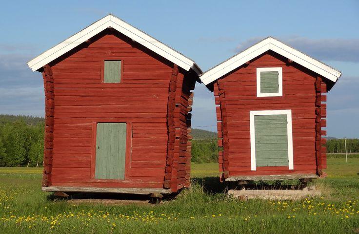 Wooden storage houses in Pello in Lapland