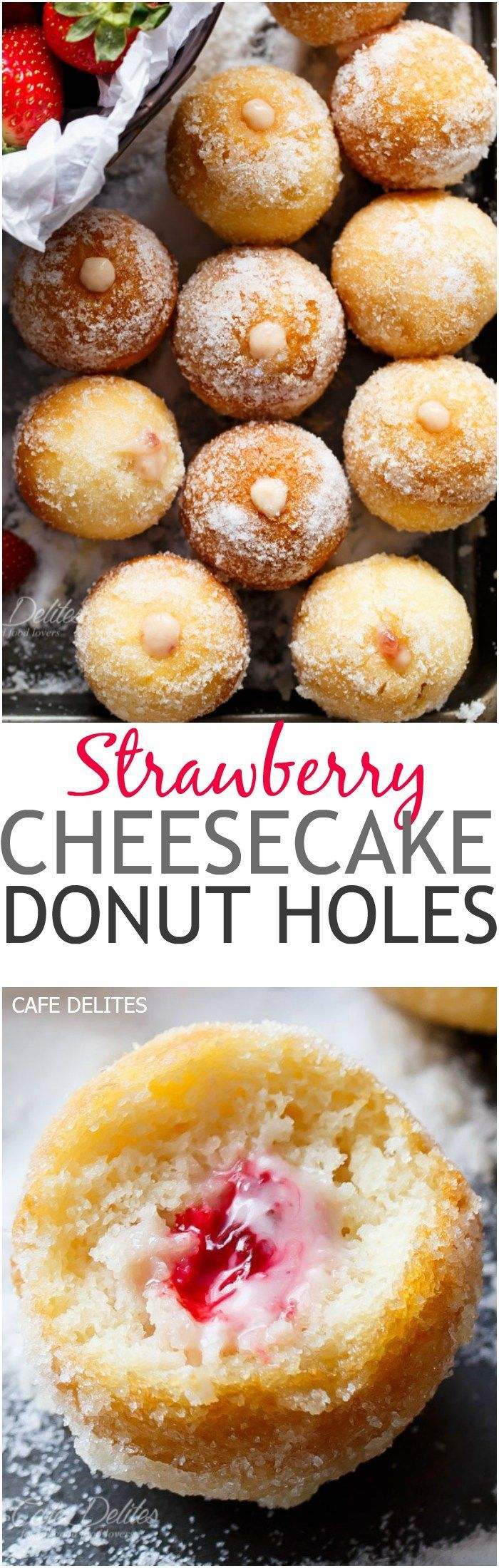 Lightened up soft and fluffy Strawberry Cheesecake Donut Holes, filled with sweet strawberry and creamy cheesecake filling! Enjoy with no guilt! | http://cafedelites.com
