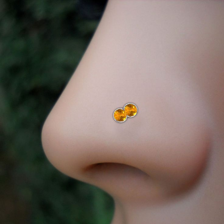 Valentine Special Offer 925 Sterling Silver Nose Stud Double Yellow CZ Nose Ring #eightyjewels