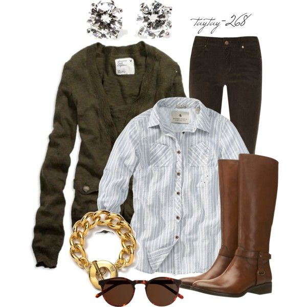 Cardigan over button up with corduroy/jeans, boots, gold jewelry.