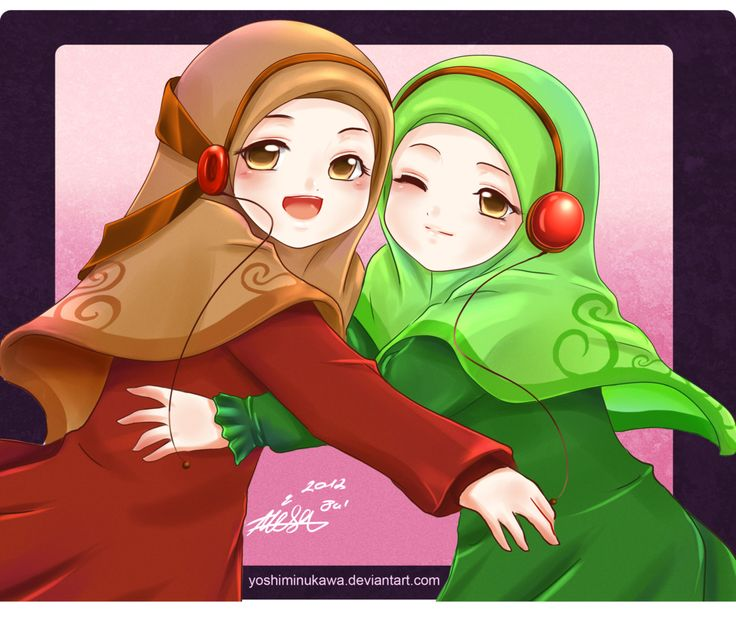 Headphones-Wearing+Anime+Muslimahs+Hugging