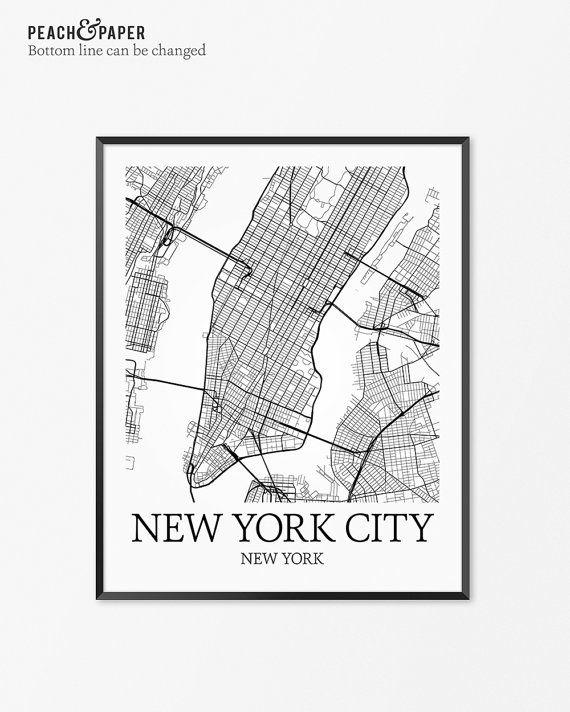 NYC New York City Map Art Print New York Poster Map of New York Decor New York Map Art New York Gift NY New York City New York State Art
