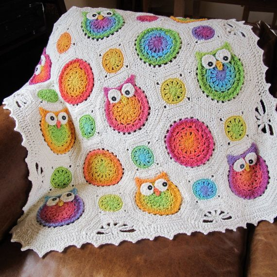 *********** This listing is for a CROCHET PATTERN in PDF format. ***********    Sweet and silly owls make a lovely blanket for a special someone.