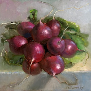 "Radishes 8""x8"" Oil on panel by Hall Groat II"