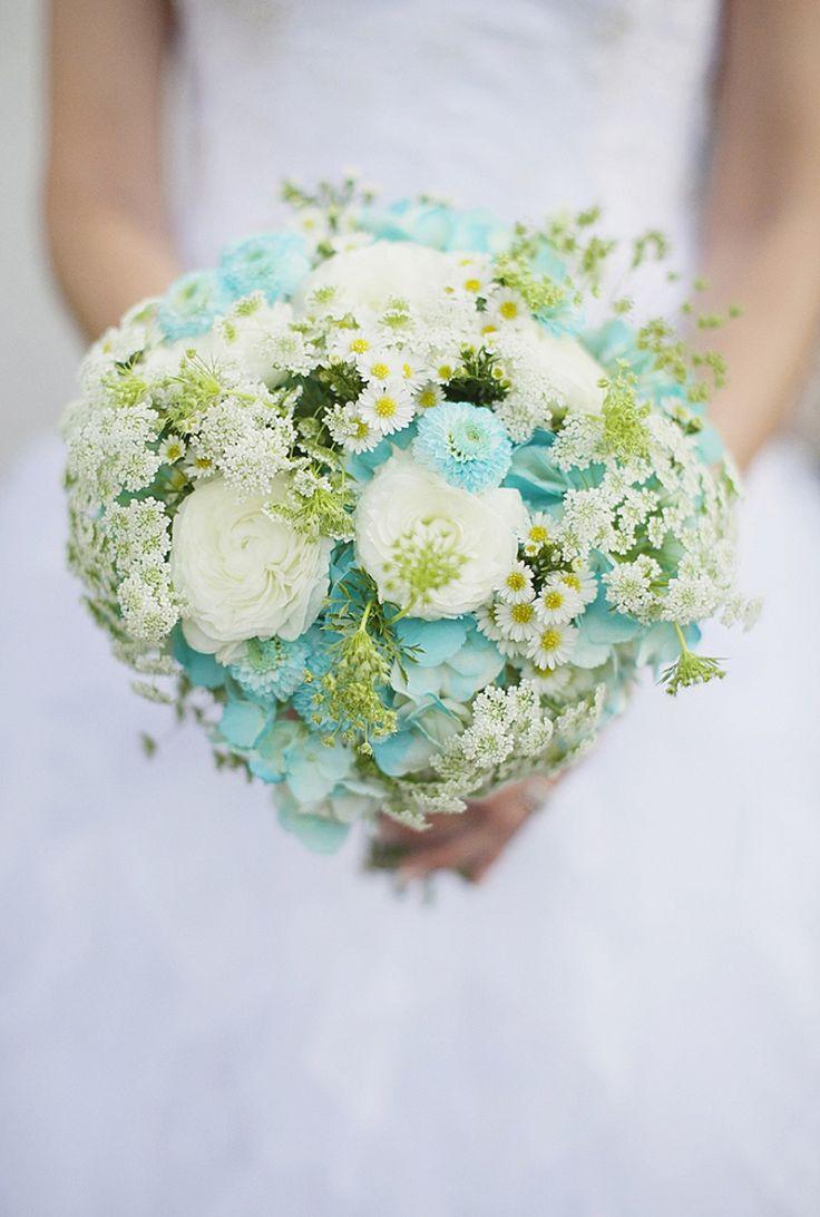 Aqua & White Wedding Bouquet