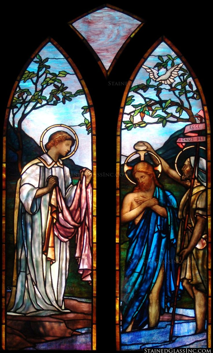 Franklin art glass studios inc clear cotswold glass 3 320 -  Jesus Is Baptized Gothic Religious Stained Glass Window