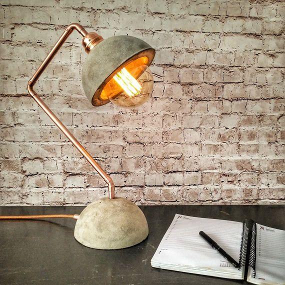 Industrial concrete copper desk lamp, Concrete lamp base shade, Desk light, Edison desk lamp, Industrial lighting, Industrial style lamp
