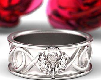 Celtic Scottish Thistle Ring Mens Wedding Infinity Jewelry