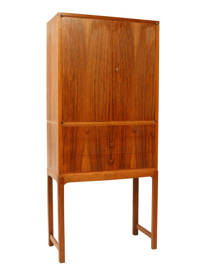 Carl Malmsten; Walnut and Brass Cabinet for Carl Löfving, 1952.