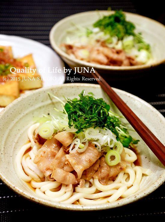【温でも冷でも】豚肉の梅わさび和えのっけうどん | JUNAオフィシャルブログ「Quality of Life by JUNA」Powered by Ameba
