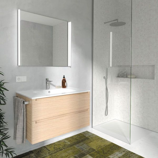 E&S Trading | Kitchen, Bathroom & Laundry - Berloni Bagno Memphis Block 106 Basin & Vanity in Natural Veneer MEMBLK106KITNAT