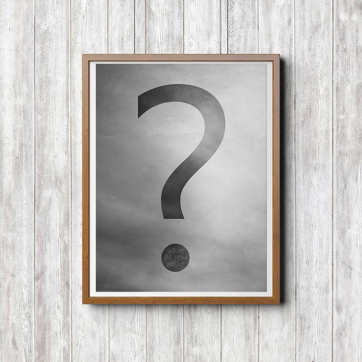 Was, Fragezeichen Illustration, schwarz weiß Illustration, Sofort Download, Minimal Kunst, Poster Drucke Download, Illustration Download von FotokunstVonAlex auf Etsy