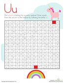 Kids draw a path from the unicorn to the pretty rainbow by following the U's in the letter maze on this kindergarten reading worksheet.