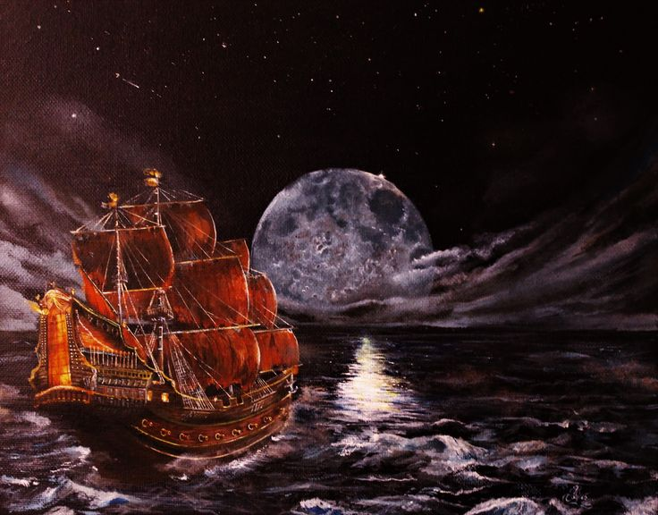 """""""To The Moon"""" Acrylic on Canvas High Resolution"""
