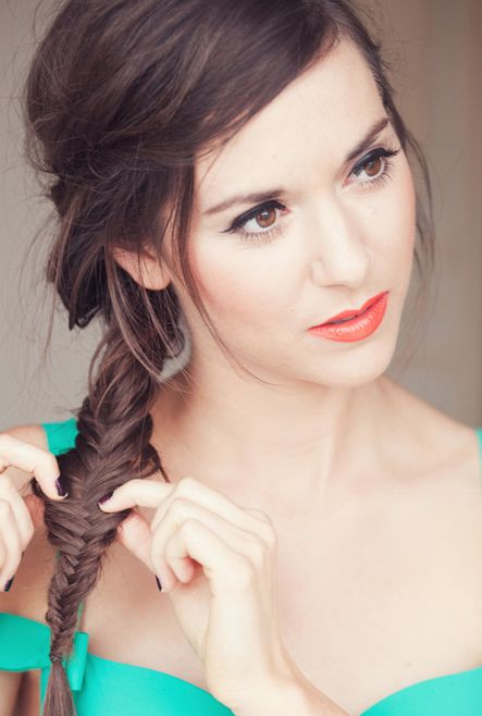 The fishtail braid is fairly easy to do if you have long hair :) but very pretty
