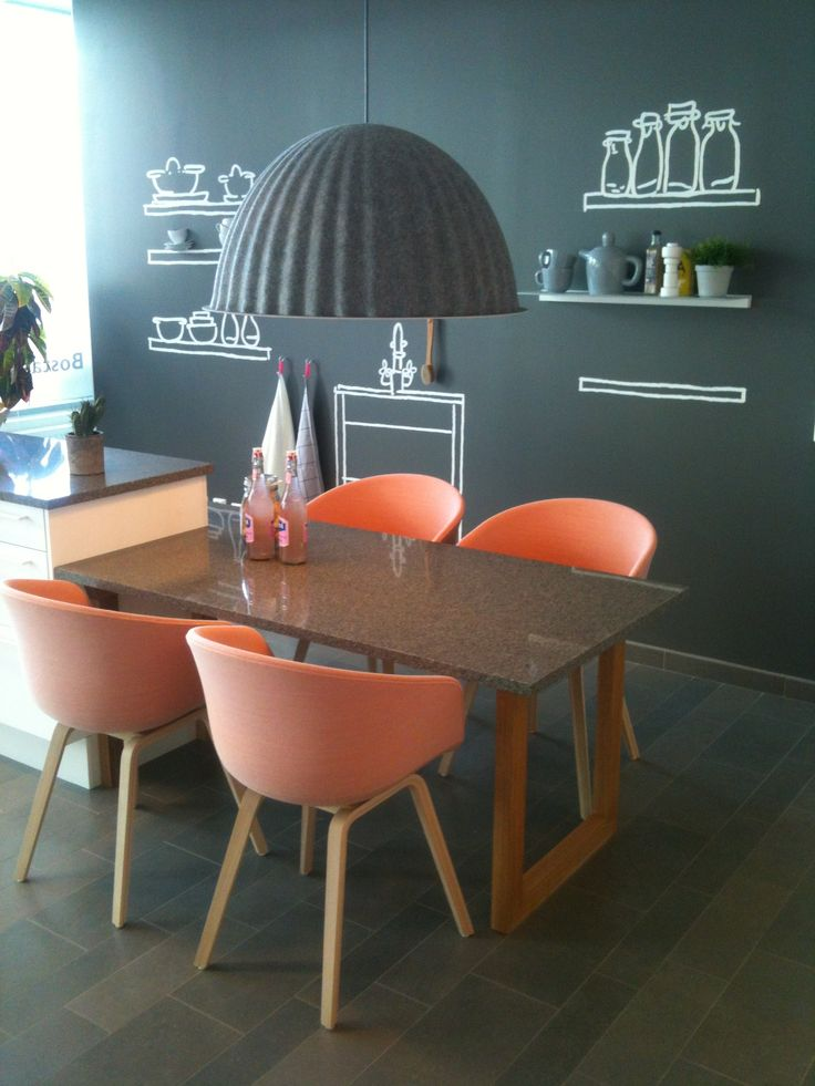 peach colored chairs and black Muuto lamp: Dining Room, Interior, Black Muuto, Chalkboard, Wall Decoration, Colored Chairs