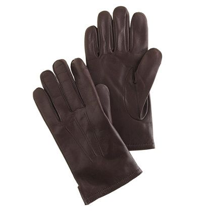JCrew Cashmere-lined leather smartphone gloves, brown, medium