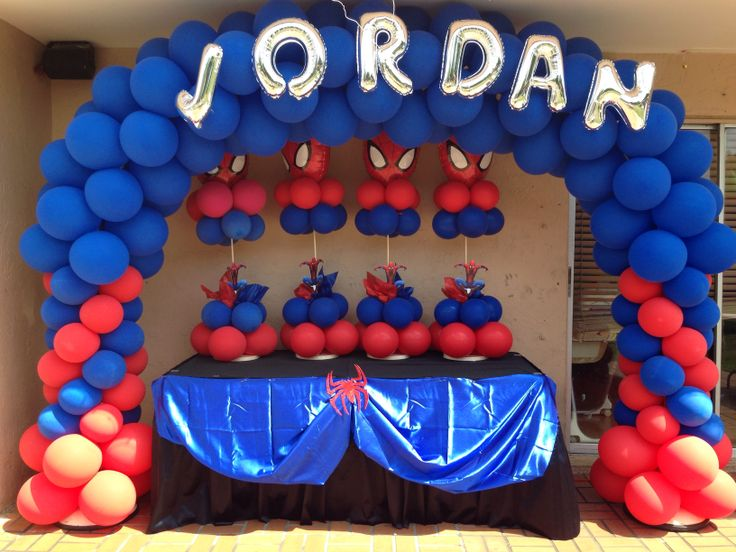 Spiderman balloon arch party decorations pinterest for Arches decoration ideas