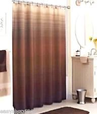 "OMBRE STRIPE BROWN TAN FABRIC SHOWER CURTAIN 70""X 72"" NEW"