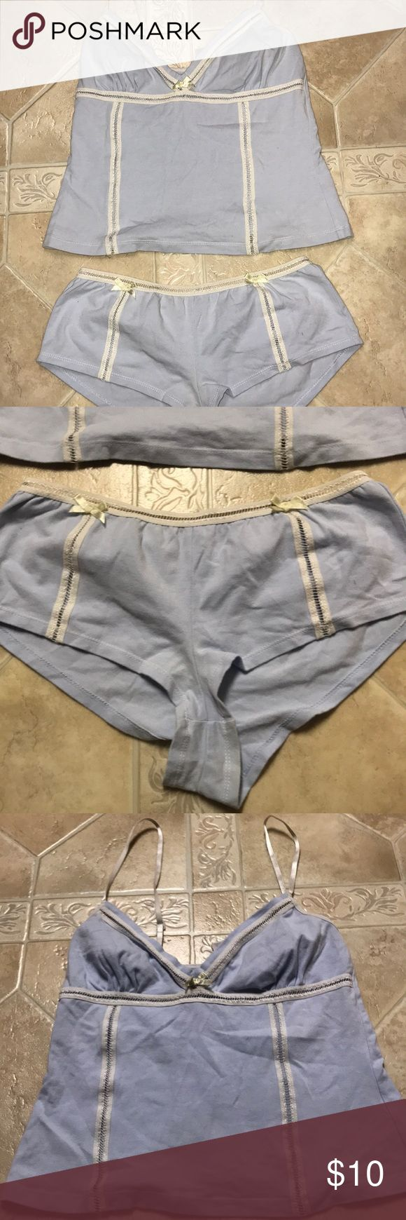 🔥Never Worn🔥Women's small sleepwear cami set Light blue and white women's sleepwear cami set by Avon. Size small and never worn. It has been washed and sitting in my dresser for a long time. Really adorable pajama set. Avon Intimates & Sleepwear Chemises & Slips
