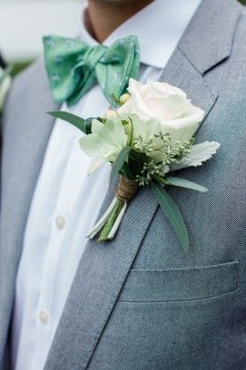 gray suit, groom suit, groomsmen suit, boutonniere, white boutonniere, rose boutonniere, rustic boutonniere, rustic wedding, vineyard vines vineyard vines bowtie, vineyard vines wedding, preppy wedding, woodlawn farm wedding, birds of a feather photography, bridal party attire