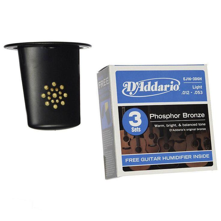 D'Addario EJ16-3D 3-Pack Phosphor Bronze Light 12-53 w/Guitar Humidifier