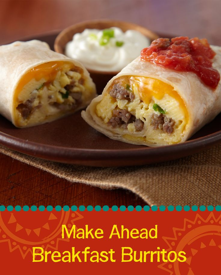Weekday mornings are tough - especially when you're trying to feed hungry kids before sending them to school! These Make Ahead Breakfast Burritos are the perfect solution! Just roll sausage, egg, green onion and cheese in Old El Paso™tortillas, wrap them up and freeze them until you need them! Bake them when you're ready to serve breakfast on those busy mornings - and you'll have delicious breakfast burritos in just 15 minutes!