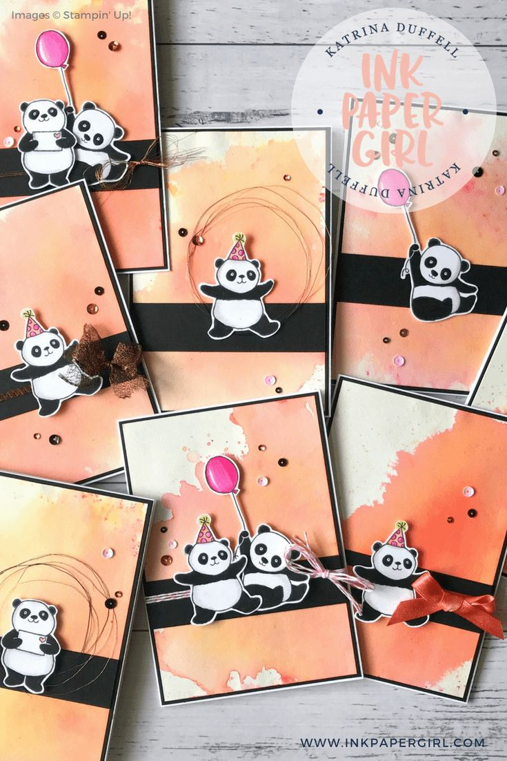 Stampin' Up! Party Pandas, Stampin' Up! Occasions Catalogue 2018, Stampin' Up! Sale-A-Bration 2018, Brusho Crystal Colour, Katrina Duffell, Independent Stampin' Up! Demonstrator Sydney Australia, Ink Paper Girl with Katrina Duffell, Hello & Happy New Year to you!! I hope you had a lovely Christmas & were able to spend some time with family & friends. Christmas Day was a quite one for me this year, as it was just m…