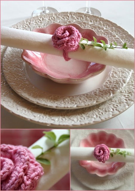 Turn crocheted flowers into napkin rings.