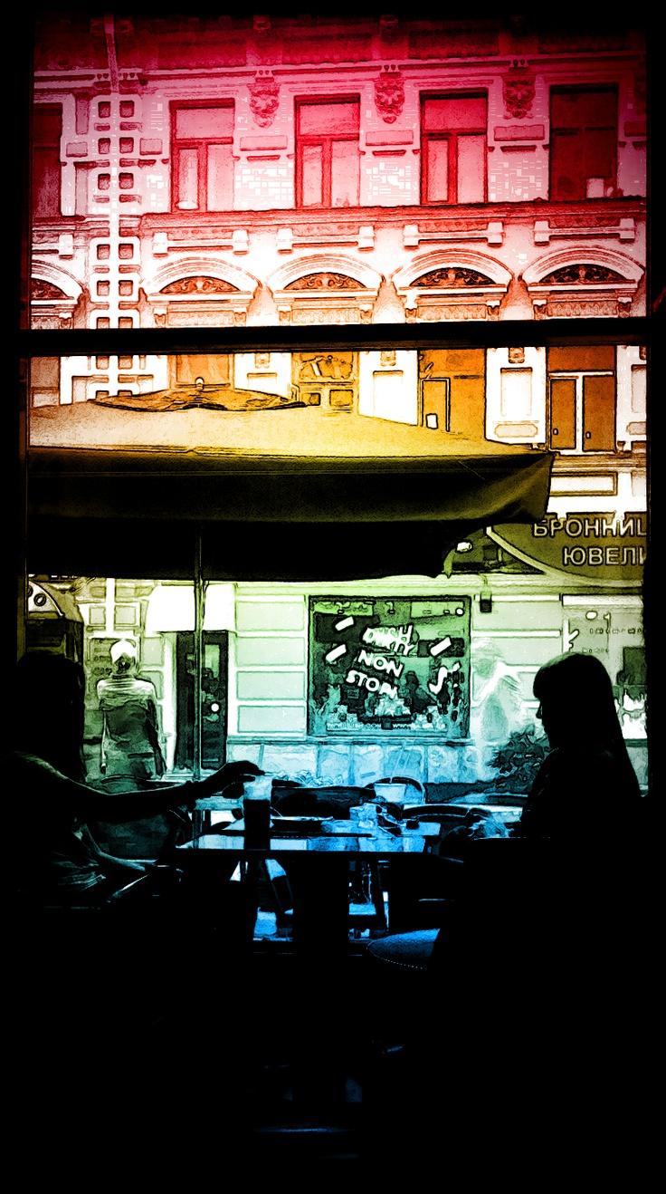 Moscow Arbat streer cafe