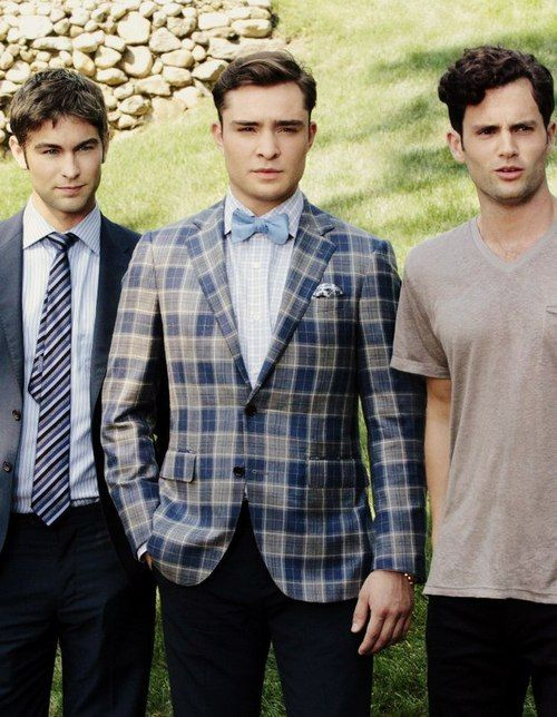 "The men of Gossip Girl. Lol I like how Nate and Chuck look great and Dan's just over there like ""derp!"""