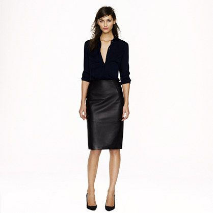J.Crew - Collection leather pencil skirt (simple and edgy) // goodness, I'd love a leather pencil skirt (but would get pleather at Forever 21 instead)