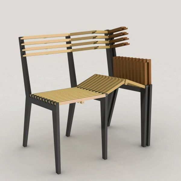 -nom inconnue- cette chaise extensible est utilisée comme un banc plier elle permet un gain de place et déplier elle créait un banc assez large pour accueillir 5 personnes maximum . cette production rappelle un accordéon