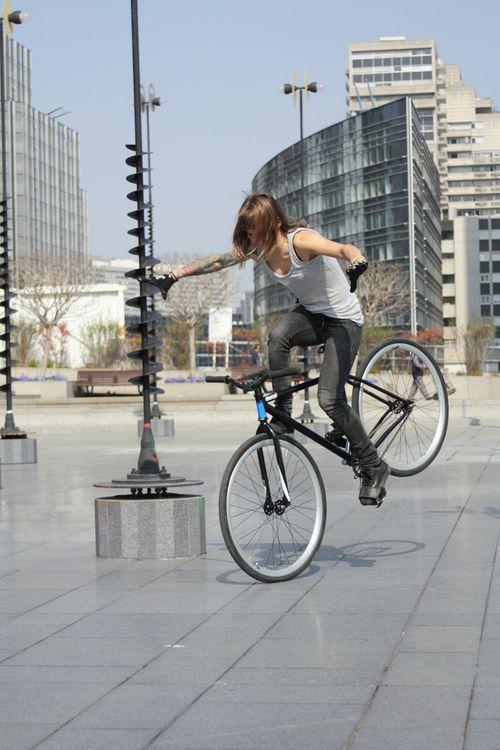 lady on a bike. Julliet Lewis. charge bikes.
