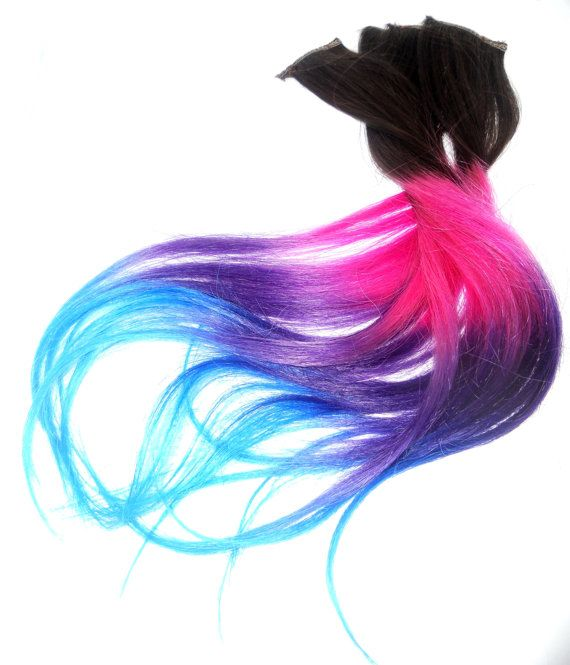 Ready to Ship/Four Clip Ins -Pink/Blue/Purple/Turquoise Extension /Tips Dip Dyed/Weft Clip Extensions – Ombre -18inch Brown/Blonde/ or blac