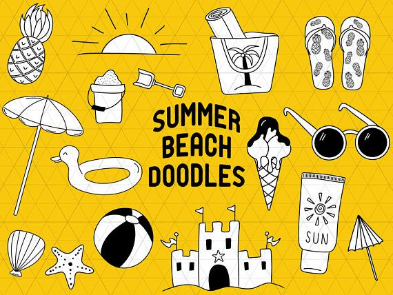 Summer Doodle, Beach Doodle, Summer Clipart, Beach Clipart, Vacation Clipart, Summer Clip Art, Vacation Doodle, Summer Vector, Beach Vector  This listing is for a clipart set of 16 digitally hand drawn birthday design elements. Can be used digitally or in print. Cutting in small size (for example 1-3) is not recommended because of the small details!  Perfect for invitation design, scrapbooking, cardmaking, stickers, announcement cards, blogs, digital stamps, greeting cards, web design…