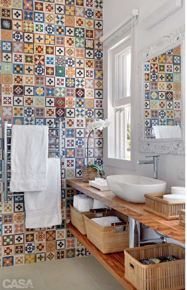 gorgeous tiled walled bathroom - Spanish inspired.
