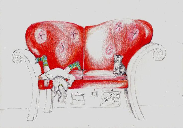 """Das Bild von der """"Kunst unterm Sofa"""", wo auch immer ich das heute gelesen habe, hat mich einfach nicht mehr losgelassen...  Dawanda bekommt ein n..."""