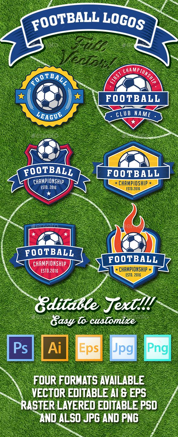 Football and Soccer Logo Templates PSD, Transparent PNG, Vector EPS, AI Illustrator. Download here: http://graphicriver.net/item/football-and-soccer-logos/15889408?ref=ksioks