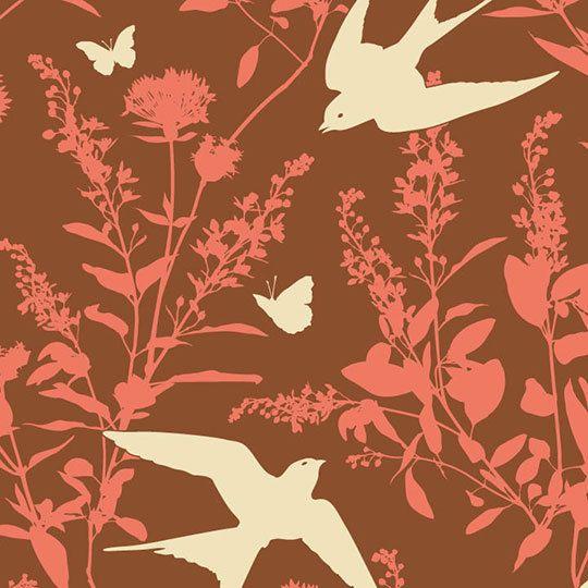 BUNGALOW by Joel Dewberry for Free Spirit Fabrics - Swallow Study (Chestnut) - Half Yard on Etsy, $4.75