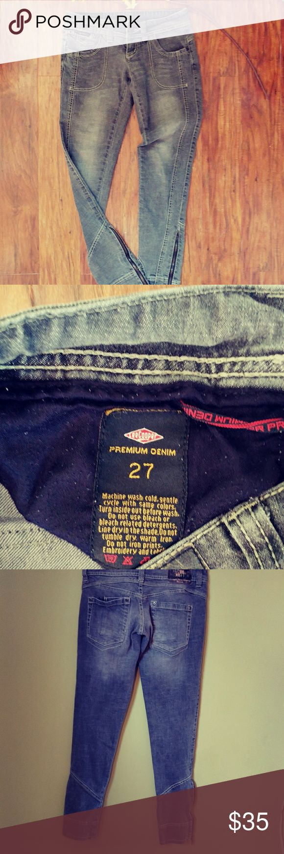 💠LEE COOPER JEANS💠 Great preloved condition. I love these I bought them for myself and they do not fit😭  these are grey faded denim with 2% spandex. 2 button, button fly, has 29 inseam and measures 15 flat across.  The bottom ankle measures 5 1/2 inches no stretch there. Feel free to ask any questions bundle for better discount Lee Cooper denim company Jeans Ankle & Cropped