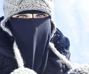 Niqabi in the snow                                                                                                                                                     More