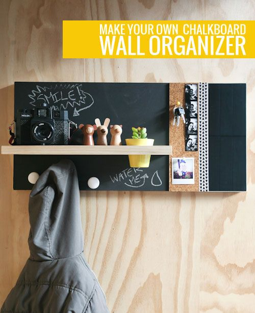 Chalkboard Wall Organiser | Curate This Space  No matter what I do - messages, mental reminders, post-its stuck to my head - I alwaysforget something when I leave the house in the morning. People joke that I live by a rule - if I need to remember 3 things, I'll remember 2. Or one. Yikes. Anyway, I'm sure if I had a organiser like this that I would always remember everything! I love that it combines a ton of organisers into one - hooks for bags, blackboard for notes, cork board for for