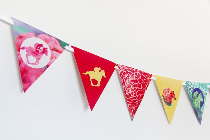 Melbourne Cup Decoration ideas - buntings  #melbournecup #decorations #diy #banners #spring #carnival #creativesenseco