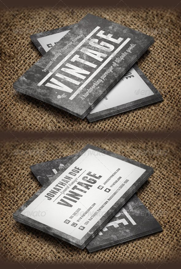 Vintage Grunge Business Cards Template #design Download: http://graphicriver.net/item/vintage-grunge-business-cards/6283084?ref=ksioks